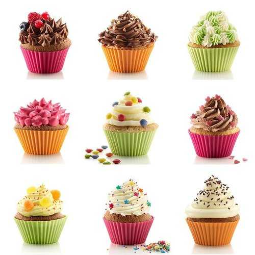 12 Pieces Silicone Cake Cups Set Baking Mold Muffin Baking Nonstick and Heat Resistant Reusable Silicone Cake Molds