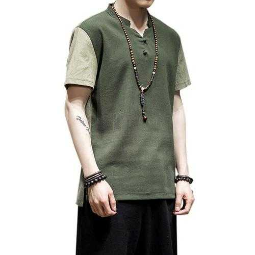 Chinese Wind Mens Breathable Linen Short Sleeved T-shirt