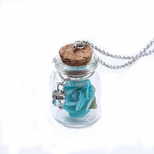 Fashion Glass Tiny Wishing Bottle Charm Necklace