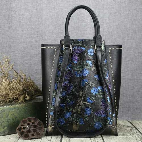 Brenice Women Cowhide Tote Handbag Vintage Rivet Shoulder Crossbody Bag