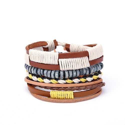Bohemian Wood Beaded Multilayer Leather Men's Bracelets