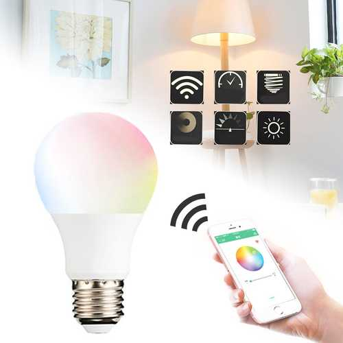 4.5W E27 WIFI Control Light Smart Bulb Wireless Dimmable RGBW LED Lamp Home Decorate AC85-265V