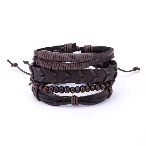 1 Set Adjustable Multilayer Wood Beads Men's Bracelets