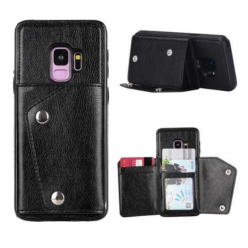 Bakeey Classic PU Leather Wallet Card Slots Bracket Protective Case for Samsung Galaxy S9
