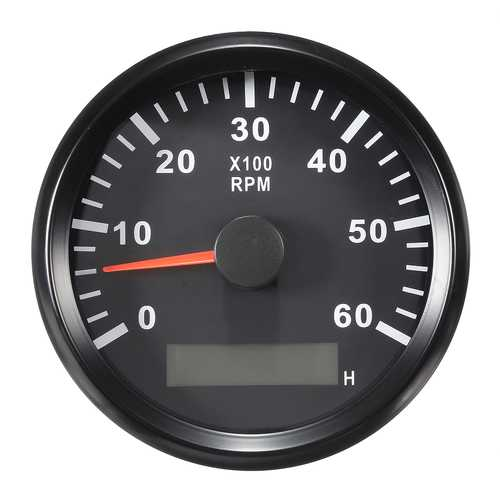 12/24V 0-6000 RPM 85mm  LCD Marine Boat Meter Tachometer Hourmeter Black