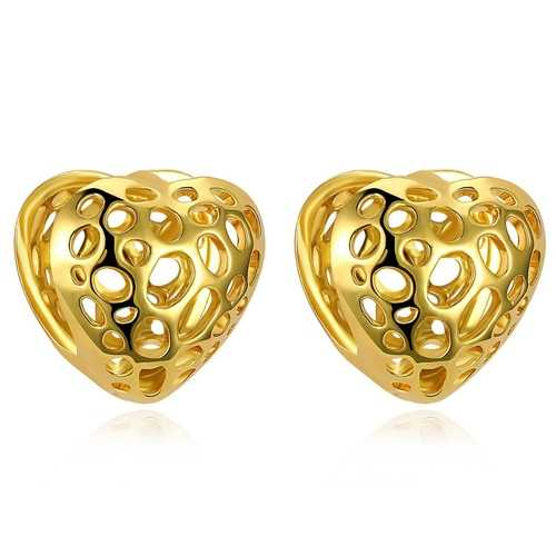 INALIS Trendy Gold Plated Earrings Heart Strawberry Shape