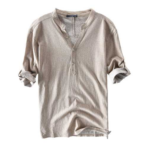Mens Cotton Casual Buttons T-Shirts