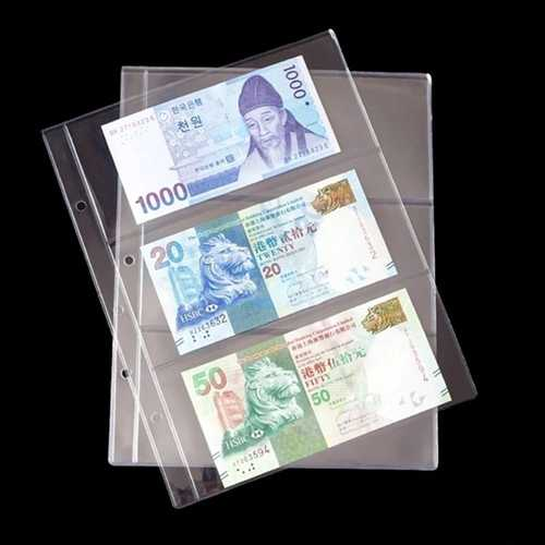 10Pcs PVC Transparent Removable Sheets For Paper Money Collection Album Banknote Album