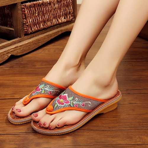 Flower Embroidered Clip Toe Flat Slippers