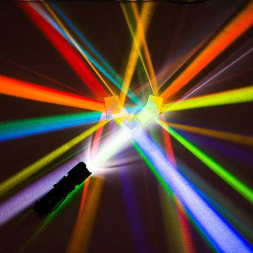 2Pcs 2.2x2.2x2.2cm Optical Glass Educational Prism Cross Dichroic X-Cube Glass Prisms RGB Combiner Decoration Glass Splitter Prism