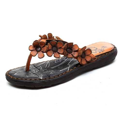 SOCOFY Handmade Leather Flat Slippers