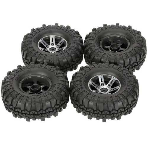 4Pcs AUSTAR AX-4020A 1.9 Inch 110mm 1/10 RC Car Tires with Alloy Hub For D90 SCX10 AXAIL RC4WD TF2 R