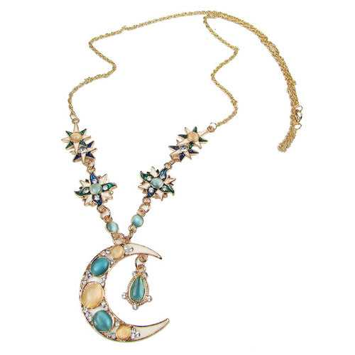 Bohemian Sun Moon Pendant Opal Charm Necklace