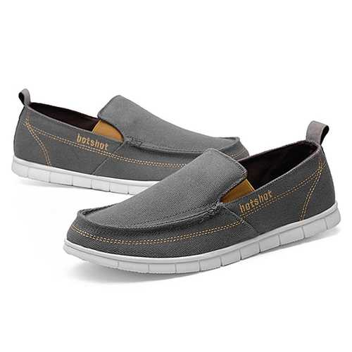 Men Breathable Casual Canvas Cloth Loafers Slip On Flats