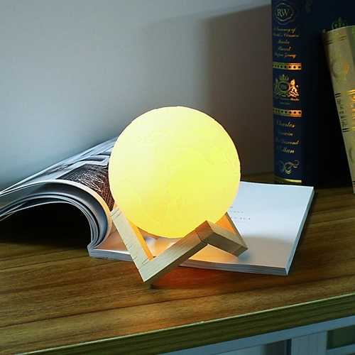 15cm 3D Earth Lamp USB Rechargeable Touch Sensor Color Changing LED Night Light Gift  DC5V