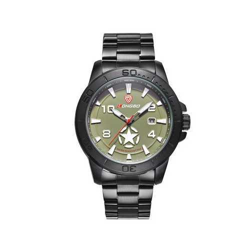 LONGBO 80217 Star Calendar Genuine Leather Strap Men Watches