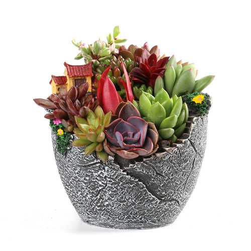 Garden Home Decorations Resin Sky Plant Fleshy Herb Flower Pot Small House Shaped Trough Basket
