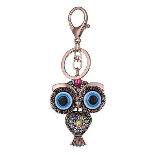 Vintage Owl Rhinestones Keychain Rings Holder