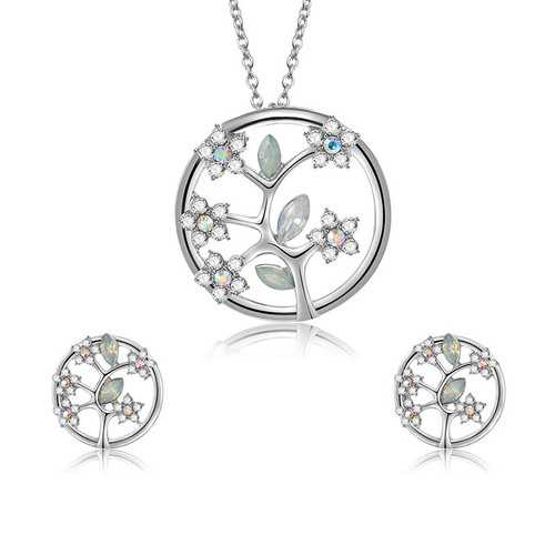 Fashion Silver Bridal Jewelry Set Tree of Life Rhinestones
