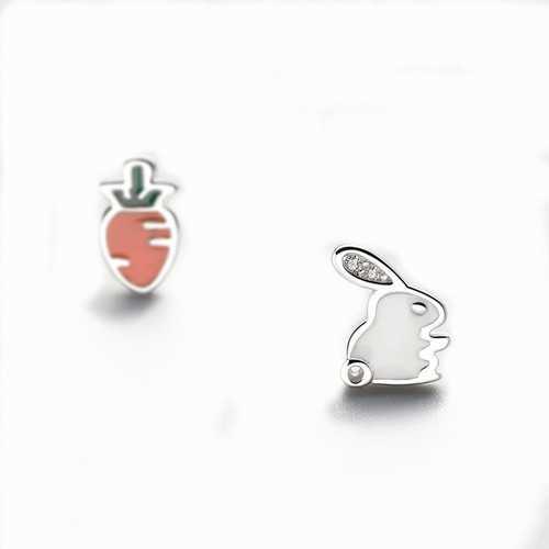 925 Sterling Silver Cute Asymmetric Rabbit Carrot Earrings