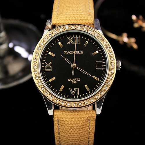 YAZOLE 359 Women Retro Crystal Genuine Leather Quartz Watch