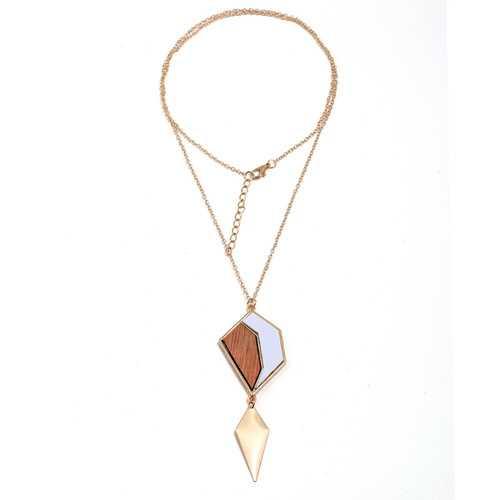 Fashion Geometric Drop Long Necklace Simple Wood Pendant