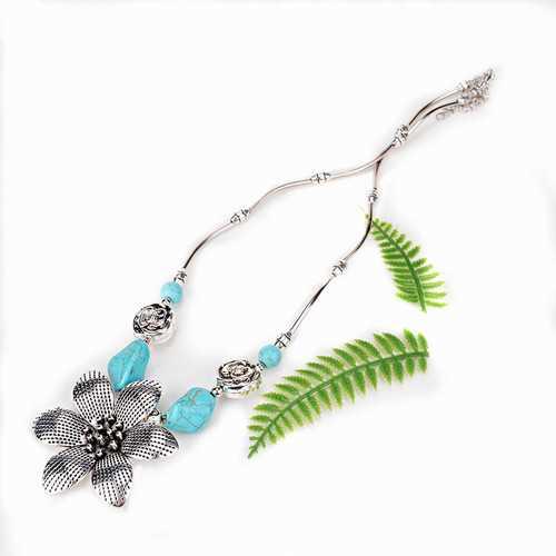 Ethnic Antique Silver Turquoise Flower Pendant Necklace