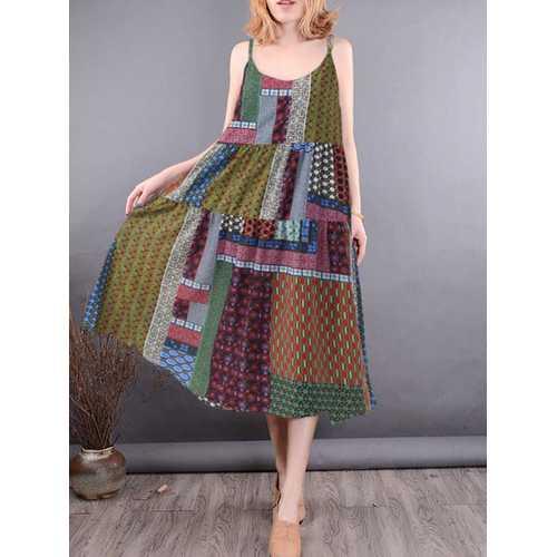 Bohemian Sleeveless Strap Floral Dress