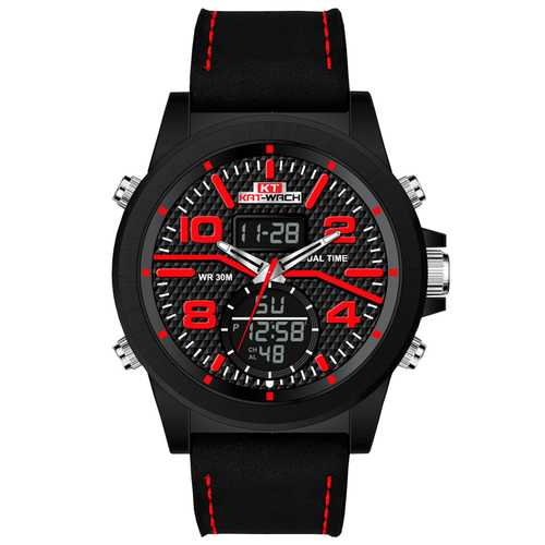 KAT-WACH KT715 Leather Chronograp Dual Display Digital Watch