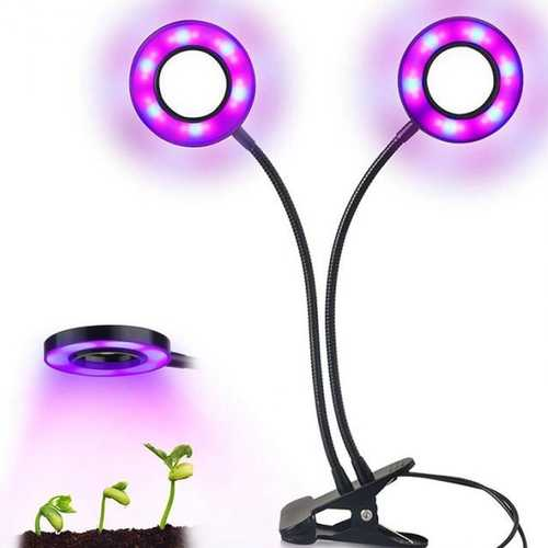 18W 36 LED Dual Head Grow Light Clip On Adjustable for Greenhouse Indoor Plants Vegetables Flowers