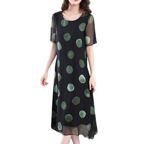 Brief Polka Dot Print Loose O-neck Short Sleeve Dress