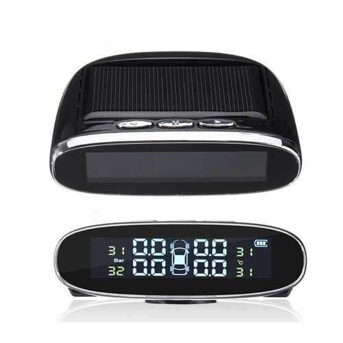 Solar Power Car Auto LCD TPMS Tire Pressure Monitor System Wireless+4 Sensors