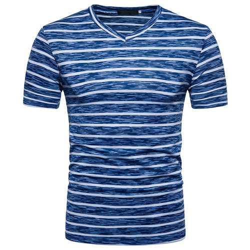 Men's Casual Stripe Colorblock V-Neck Short Sleeve T-Shirts