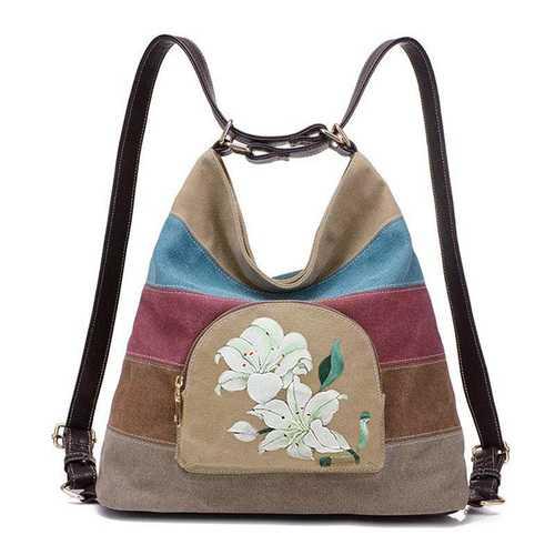 Brenice Women National Lotus Multifunctional Canvas Shoulder Crossbody Bag Striped Backpack