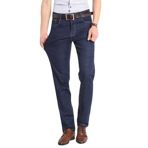 Mens Summer High Rise Loose Straight leg Business Jeans