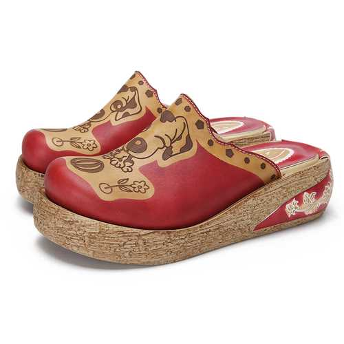 Leather Animal Pattern Casual Flip Flops Shoes