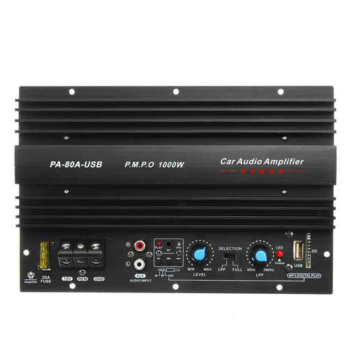 12V 1000W Car Audio Amplifier Amp Board Bass Subwoofer for 8/10/12 Inch Speaker