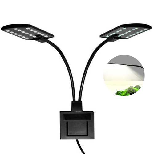 15W Ultra-thin Aquarium Light Compact Fish Tank Light 2 Heads Aquatic Plant Lights EU Plug