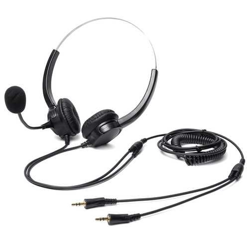 Binaural Phone Headset Earphone with 2.5mm Plug Hands-Free Noise Cancelling Telephone Call Center