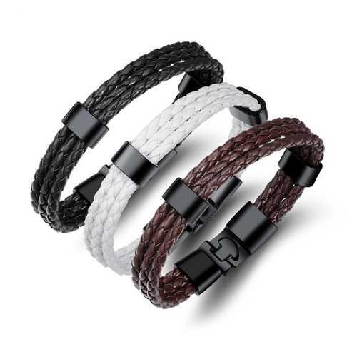 20cm Vintage Leather Bracelet Multilayer Woven Wristhand