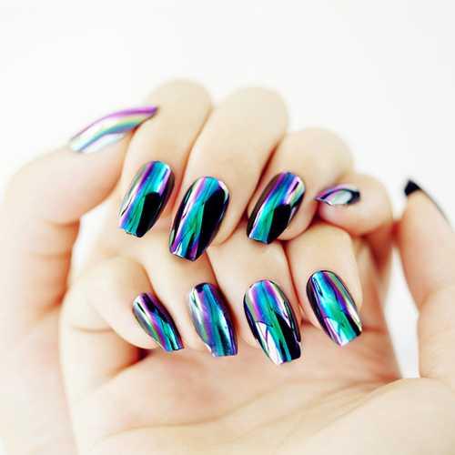 24Pcs Mirror Metallic Colors Fake Nail Tips