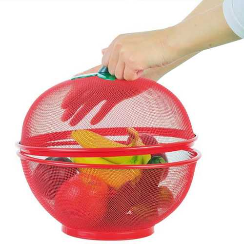 Apple Shape Mesh Fresh Fruits Storage Drain Basket Keep Flies Insects Out Storage Baskets Washing Vegetable Basket Filter Tools