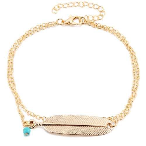 Bohemian Summer Turquoise Charm Multilayer Anklet Foot Chain