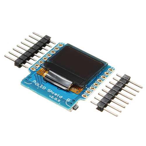 "5pcs Wemos® OLED Shield V2.0.0 For Wemos D1 Mini 0.66"" Inch 64X48 IIC I2C Two Button"