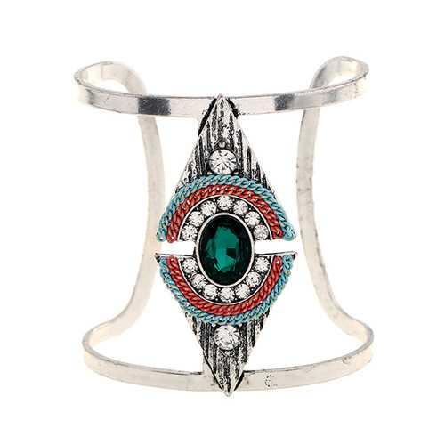 Vintage Crystal Rhinestones Wide Bangle Bracelet for Women