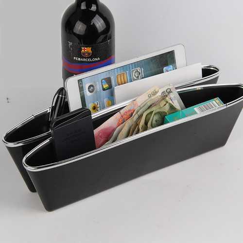 2Pcs ABS Car Seat Crevice Storage Organizer Caddy Catcher Box Seat Slit Pocket