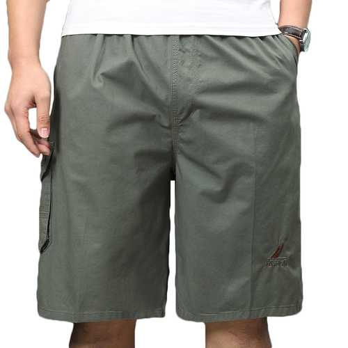 100% Cotton Mens Multi-Pocket Knee-Length Casual Shorts