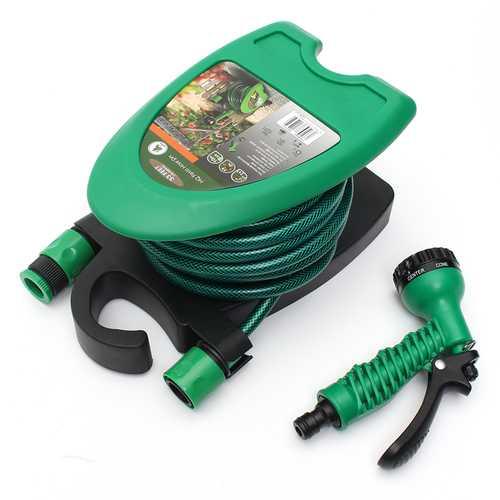 10M Portable Mini Water Hose Reel Handheld Shower Watering Washing Hose Storage Holder Kit