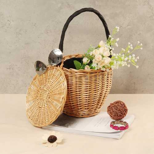 100% Handmade Straw Woven Tote Basket Handbag