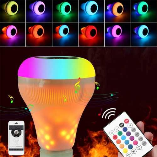 18W B22 E27 RGBW+Yellow Flame Bluetooth Speaker Music Play LED Bulb Wireless Remote AC85-265V